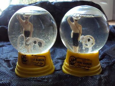 Lone Ranger Pair Of Glass  Snow Globes,yellow Bases,1950's, The Driss Co, Usa
