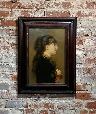 19th century French Belle Epoque Portrait of a young Woman -Oil painting