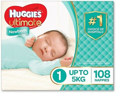 Huggies Ultimate Nappies, Unisex, Size 1 Newborn (Up To 5kg), 108 Count