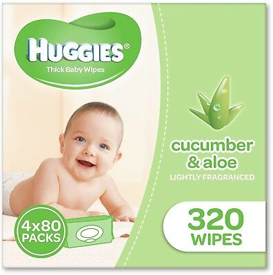 Huggies Aloe and Cucumber Baby Wipes (Pack of 320), 320 Wipes (4 x 80 Pack)