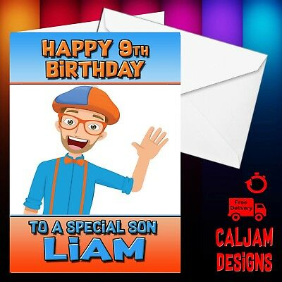 Blippi Birthday card Personalised any name age or relation - FREE P+P 2