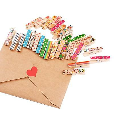 100PCS Mini Wood Wooden Pegs Natural Craft Wedding Clothes Pin Line Photo Clips