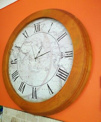 extra large 72cm in diameter wooden frame wall clock
