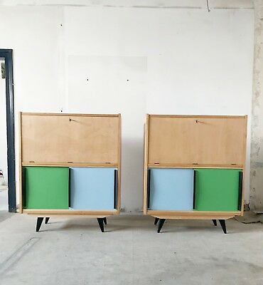 PAIR OF UPCYCLED VINTAGE MID CENTURY 50s 60s SIDEBOARD BUFFET BOOKCASE CABINET