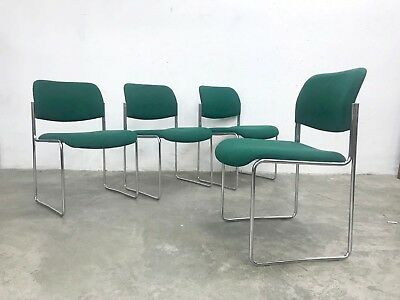 1of4 VINTAGE 1970s STACKABLE DINING CHAIRS UPHOLSTERED SEATS DAVID ROWLAND STYLE