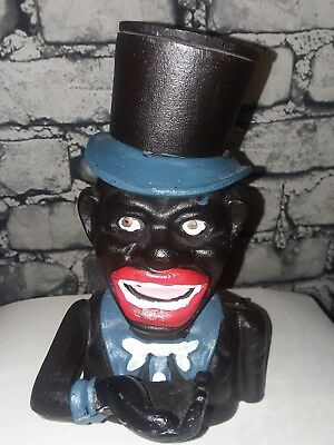 Cast Iron Black Americana Jolly Negro Man With Top Hat Mechanical Bank