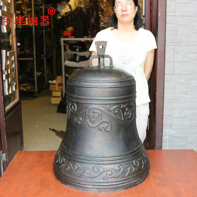 28'' China Copper Bell Warning Clock Bronze Statue