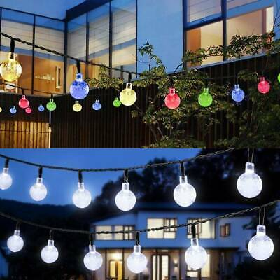 30 LED Solar Powered Garden Party Fairy String Crystal Ball Lights Outdoor UK