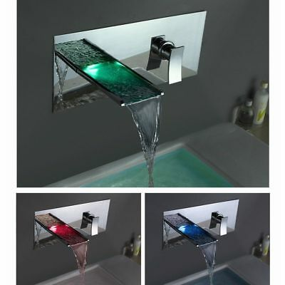 LED Wall Mount Basin Shower 1Hole Mixer Faucet Waterfall Chrome Brass Sink Taps