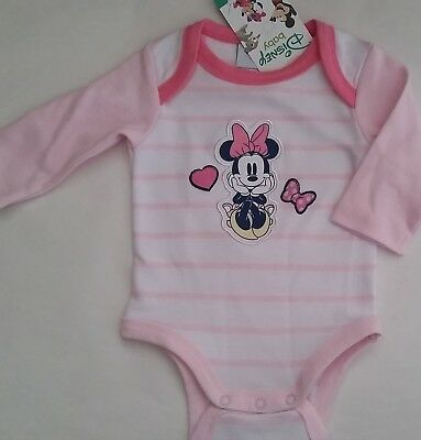 DISNEY MINNIE MOUSE Girl Licensed romper all-in-one bodysuit stripe NEW 0000-1