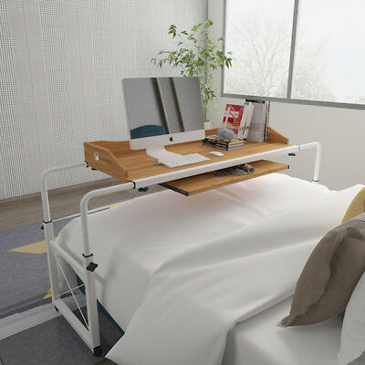 Adjustable Rolling Laptop Stand Over Bed Table Computer Desk With