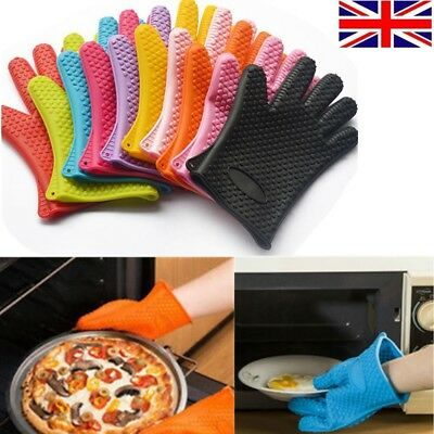 Pair of Heavy Duty Silicone Oven Gloves Heat Resistant Kitchen BBQ Cooking Mitts
