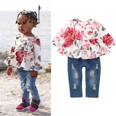 2PCS Kids Baby Girls Clothes Floral T-shirt Dress+Ripped Pants Jeans Outfits Set