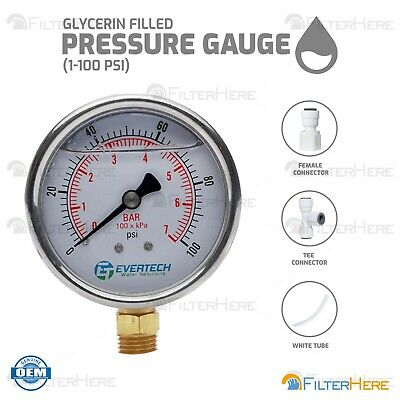 Glycerin Filled Pressure Gauge (1-100 PSI) for Reverse Osmosis Applications