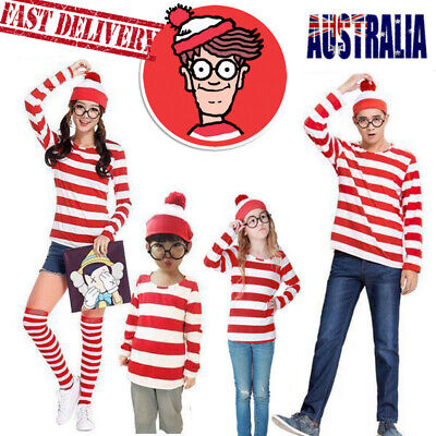 Kids Mens Ladies Wheres Wally Costume Outfit Licensed Fancy Dress Book Week AU