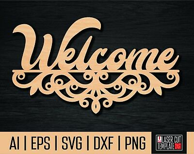 Cnc dxf file welcome sign. Welcome cut file.Laser cut template. CNC vector.