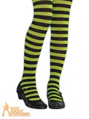 88c0bf922 Child Green And Black Striped Tights Witch Halloween Girls Kids Fancy Dress