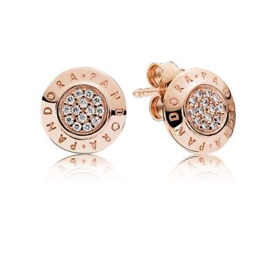 Authentic Pandora Charm Rose Gold Signature Stud Earrings 280559CZ