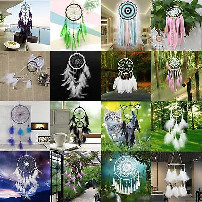 US Handmade Feathers Dream Catcher Home Wall Door Hanging Decor Kits Craft Gifts
