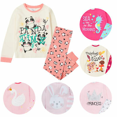 Girls Kids Bunny Rabbit Pyjama Set PJ 100% Cotton Long Sleeved Nightwear Gift