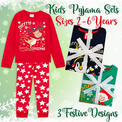 Kids Childs Boys Girls 100% Cotton Christmas PJ Set Xmas Pyjamas Festive PJ's UK