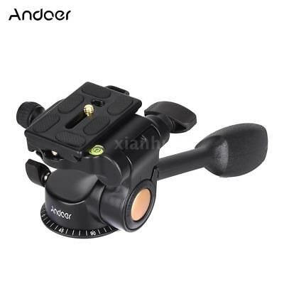 Video Tripod Ball Head 3-way Fluid Head Rocker Arm fr DSLR Camera Tripod Monopod