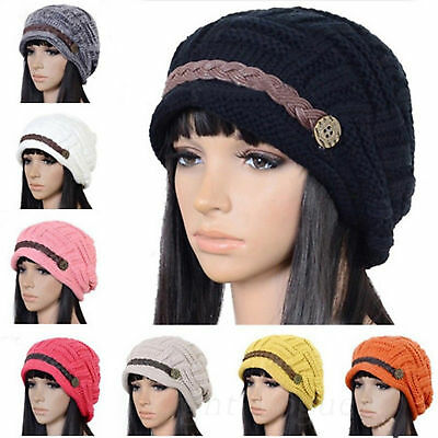 Womens Knitted Beanie Cap Thick Caps Elastic Hat Slouch Unisex Winter Warm Hats#