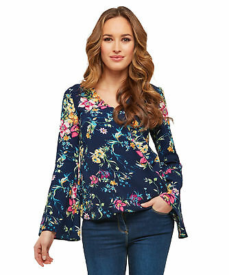 Joe Browns Womens Bell Sleeve Floral Wrap Top Navy Multicoloured 18