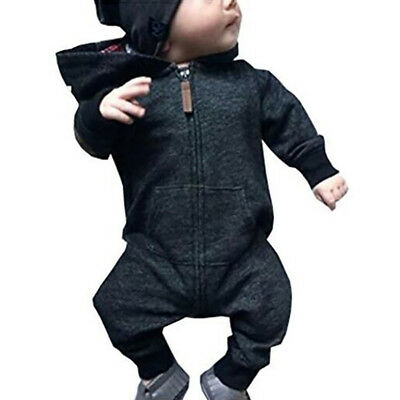 EG_ Infants Baby Boy Girl Casual Long Sleeve Cotton Hooded Romper Jumpsuit Splen