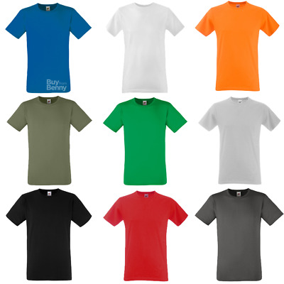 Fruit Of The Loom MEN'S T-SHIRT FITTED GYM SPORT SLIM FIT PLAIN COTTON TEE S-2XL