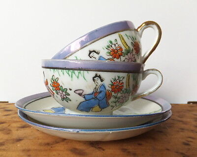 Japanese Egg Shell Porcelain Cups and Saucers - Hand Painted Geisha & Blossom