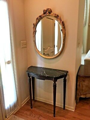 Vintage Venetian Italian Gilt Wood Oval Bevelled Mirror Tulip Flower Design