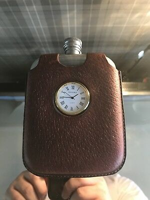 Vintage Hip Flask with clock in leather case