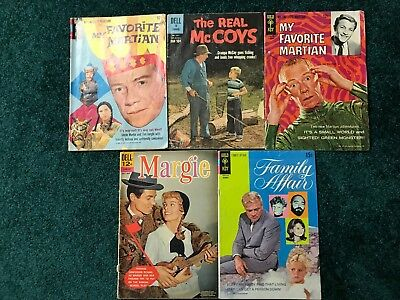 Lot of 5 Classic TV Show Comics - Favorite Martian - Family Affair - Real McCoys