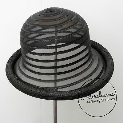 Crinoline & Poly-Braid Rolled Edge Hat Base - Black, Peach or White