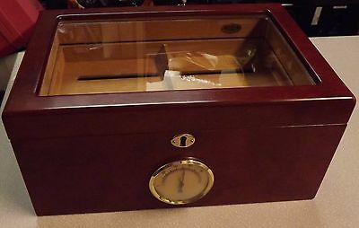 Cigar Hygrometer Cherry Wood, Glass, Removable Tray & Keys