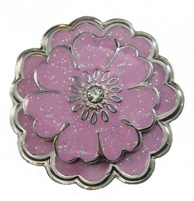 Navika Pink Flower Glitzy Ball Marker with. Crystal and Matching Kicks Candy