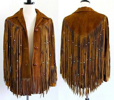 Womens Suede Leather Brown Fringe Native American Western Style Cowboy Jacket