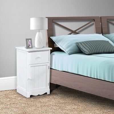 Pair of White Bedside Bedroom Bathroom Table Cabinet Nightstand Storage Unit