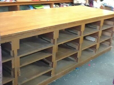 antique oak general store counter 11ftx42 quarter saw top bar work table bench