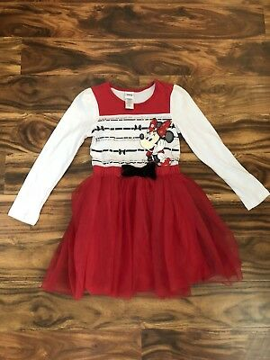 Disney Minnie Mouse Dress Tulle Skirt Size 6 Girls Bow Long Sleeve