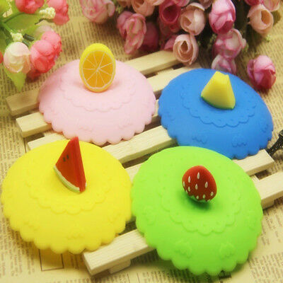 Anti-dust Suction Leakproof Coffee Mug Lid Silicone Fruit Glass Cup Cover