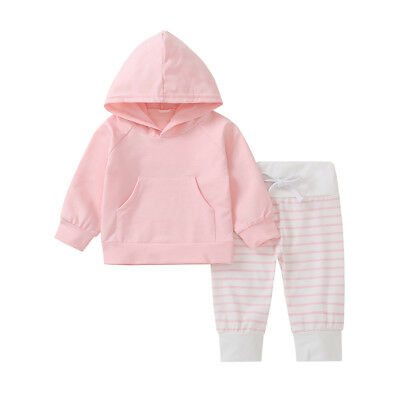 EG_ Baby Kids Girls Pink Long Sleeve Hooded Top Stripe Pants Outfits Set Splendi