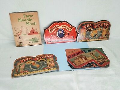 5 Vintage Sewing Needle Books Holders Paper Advertising Lot
