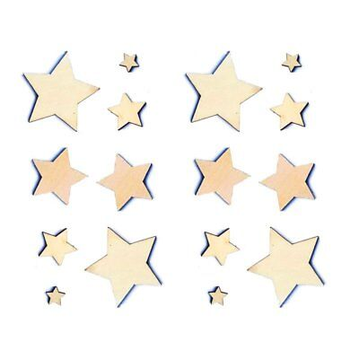 Mixed Size Natural Stars Plain Wooden Scrapbook Vintage Confetti Star (100) S5O7
