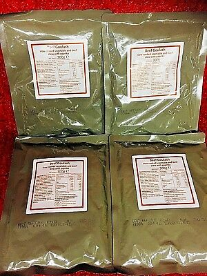 army ration packs A,4 X Beef Goulash, Fishing ,Camping ,Hiking ,ready meals,