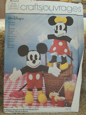 Simplicity Pattern 7635 Mickey Mouse & Minnie Mouse Dolls, Vintage, NEW, Uncut