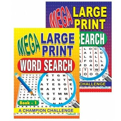 2x Mega Large Print Adult Word Search Books over 250 puzzles UK Stock