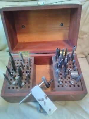 antique  vintage Clock watch makers tools kit in box punches  ? rivits ? dies?
