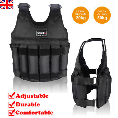 Weighted Vest Jacket Weight Adjustable Running Fitness Crossfit 20KG 50KG UK